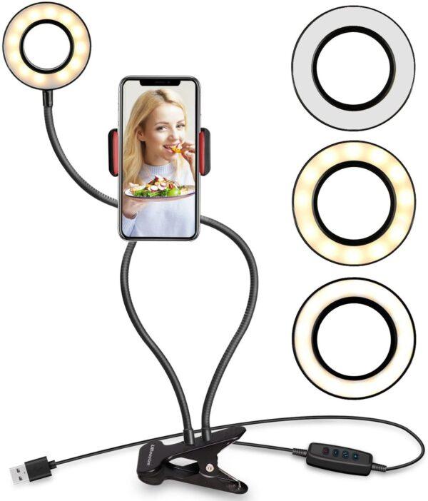 Mbajtese me driten LED per celularin per te bere foto dhe video produkt online iBuy.al
