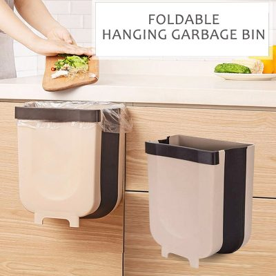 NEW Folding Trash Can Kitchen Cabinet Garba e Door Hanging Can Wall Mounted bli online iBuy al